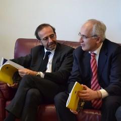 Riccardo Nencini e Livio Valvano nella stanza del sindaco di Matera