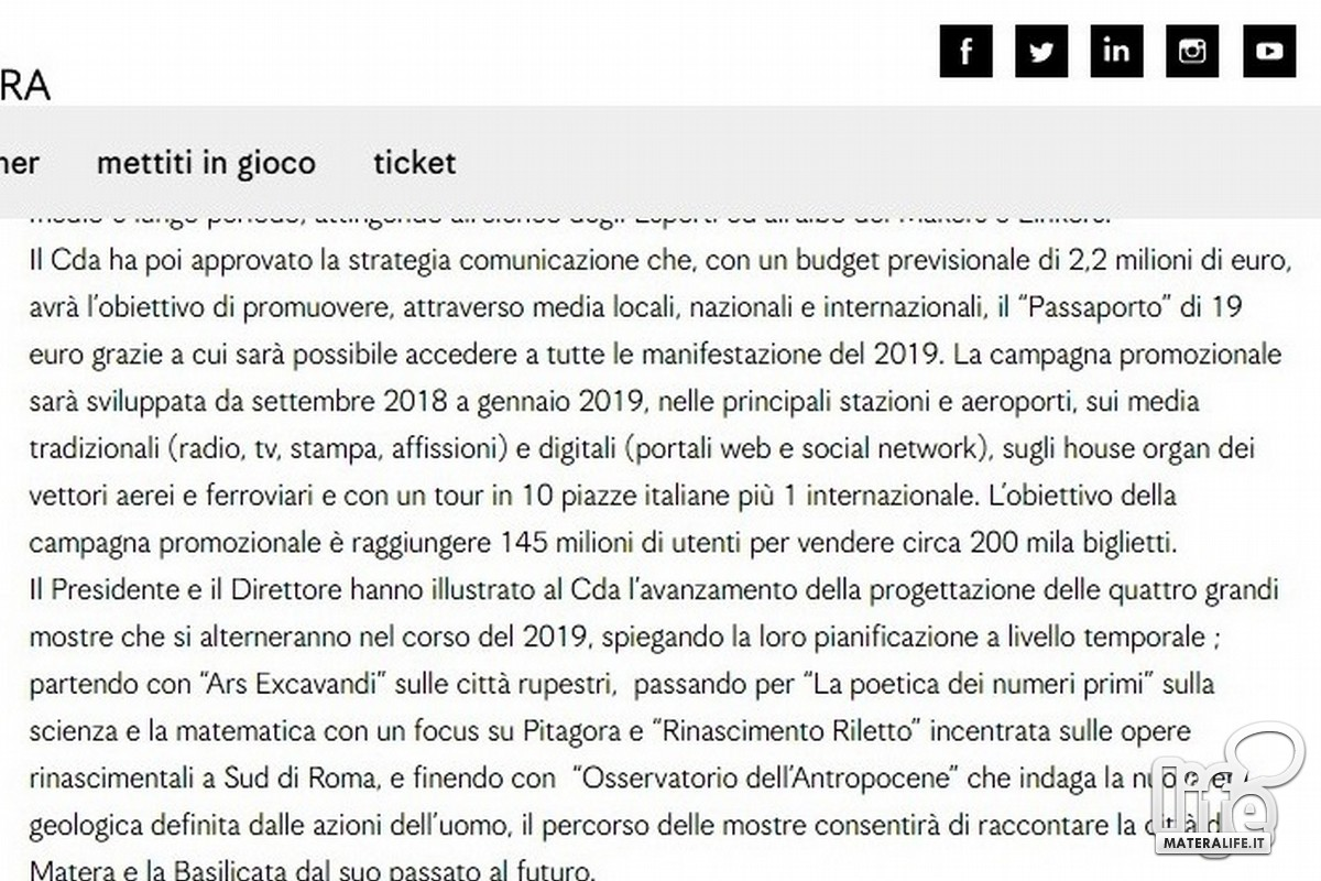 Comunicato della Fondazione sul passaporto Matera2019
