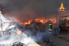 Centinaia di rotoballe di fieno distrutte da incendio