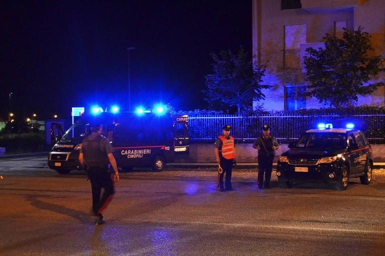 Posti di blocco dei Carabinieri con cani antidroga