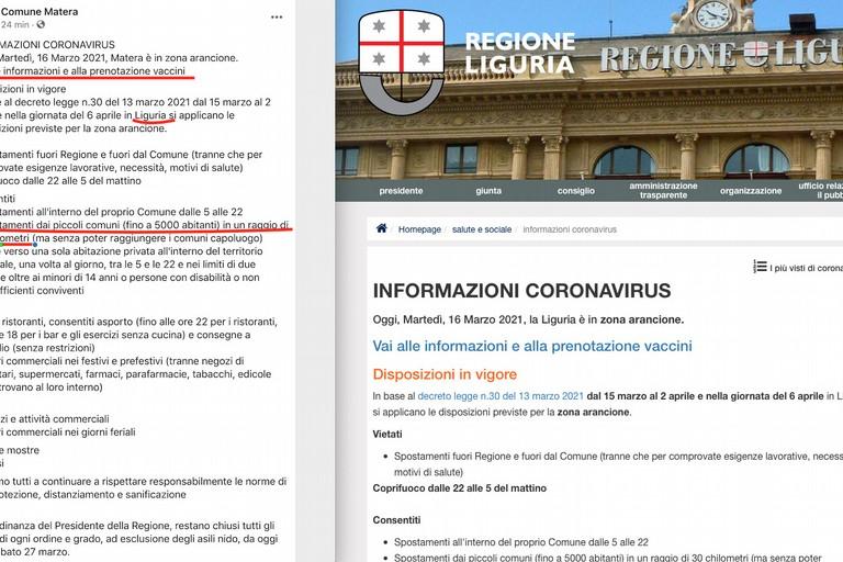 Schermata pagina fb comune Matera e sito regione Liguria